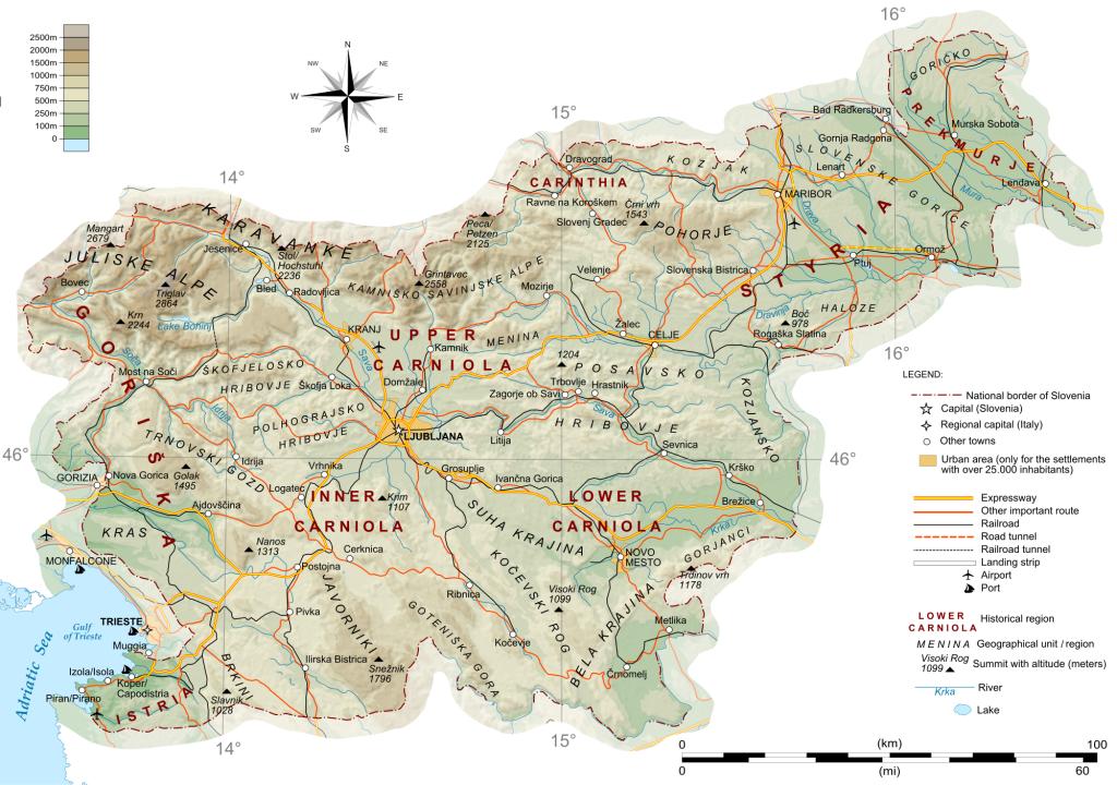 Mapa físico de Eslovenia. Montañas y ríos