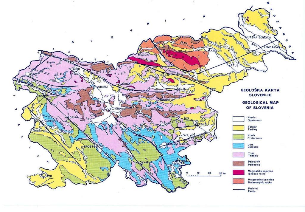 Mapa geológico de Eslovenia
