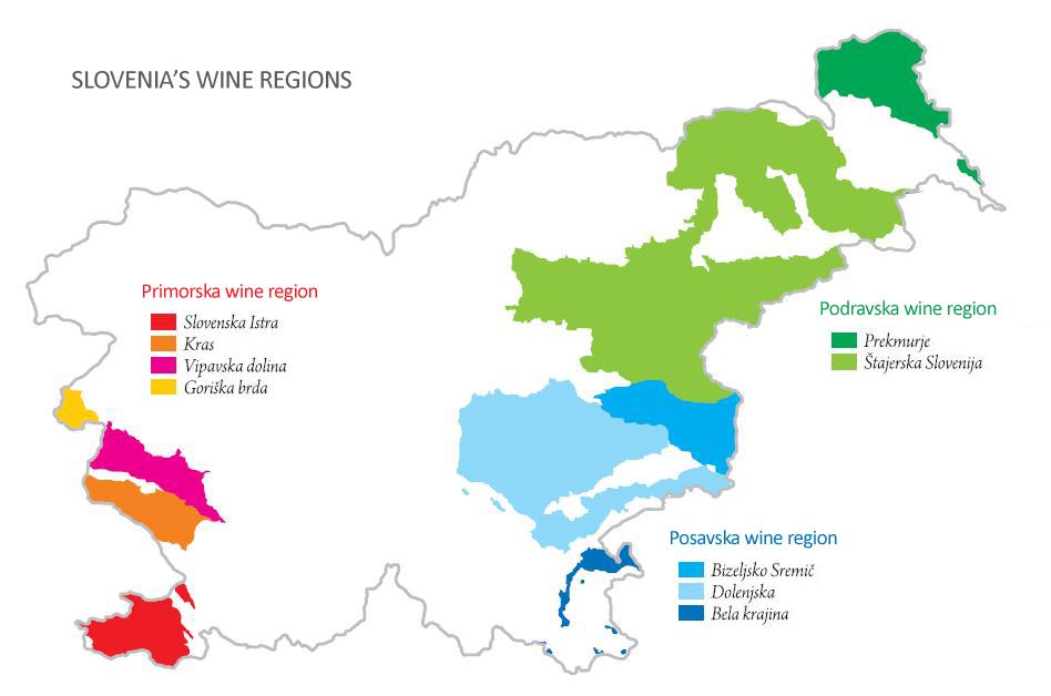 Mapa de regiones de producción de vino en Eslovenia