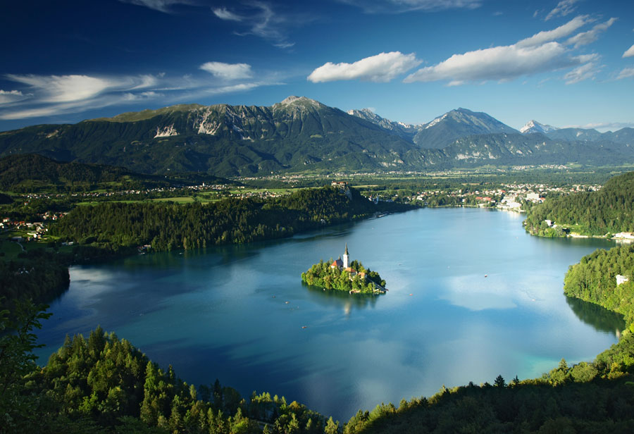 El lago Bled desde el cielo