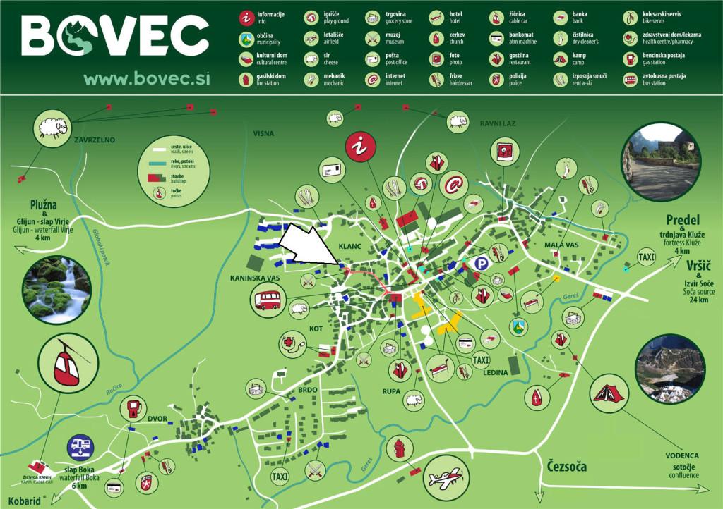 Mapa centro de Bovec