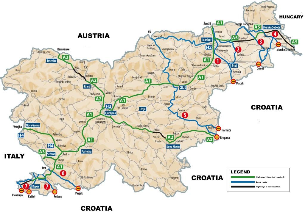 Mapa de las carreteras y autopistas de Eslovenia
