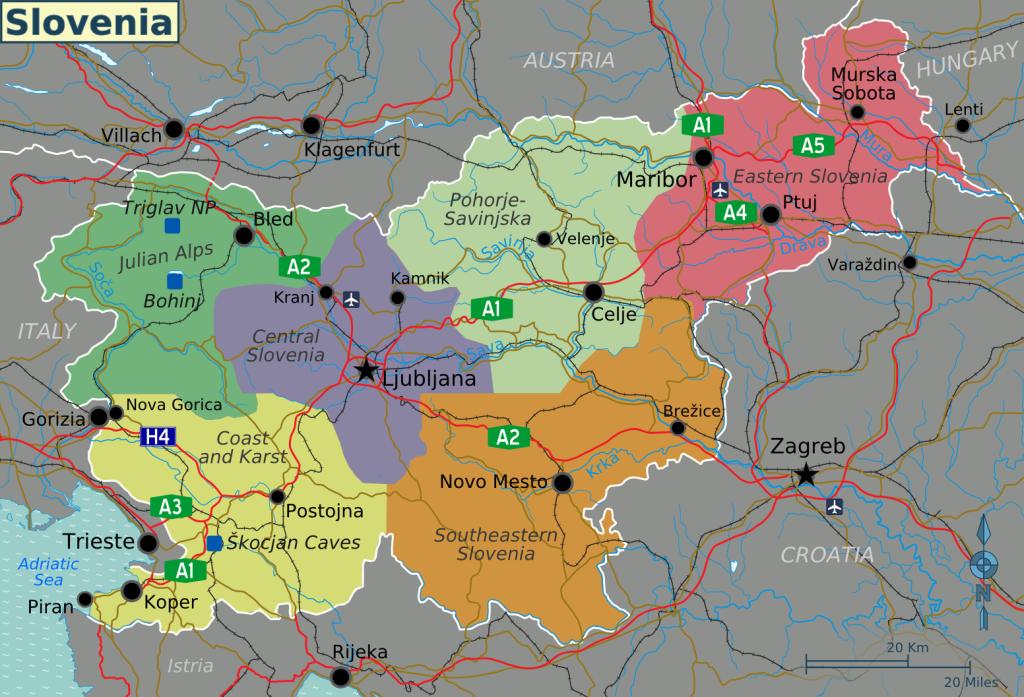 Mapa de las regiones de Eslovenia